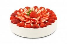 pastel de crema con fresa