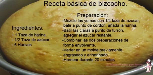 Receta básica de bizcocho